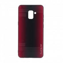 Husa pentru Samsung Galaxy A8 PLUS - Husa Pro Shield Glass Rosu cu Efect Gradient