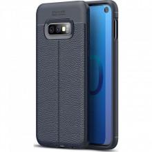 Husa Samsung Galaxy S10e - Husa Bleumarin din TPU cu Design de Tip Piele