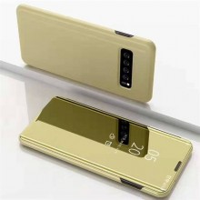 Husa Samsung Galaxy S10 Flip Book Cover Clear View Gold