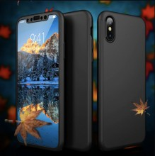 Husa iPhone XS Max 360° Neagra Premium Ultra Slim Cu Folie de Sticla