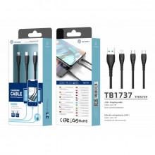 Cablu USB 3In1 2.4 1M negru, PMTF057593