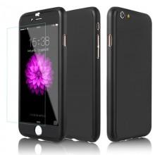 Husa iPhone 6 sau 6S Neagra 360° Matte Premium Ultra Slim cu Folie de Sticla