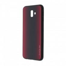 Husa pentru Samsung Galaxy J6 PLUS - Husa Pro Shield Glass Rosu cu Efect Gradient