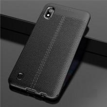 Husa Samsung Galaxy A10 Neagra din TPU cu Design de Tip Piele