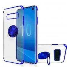 Husa Samsung Galaxy Note 8 din Silicon Transparenta cu Inel Rotativ si Margini Albastre