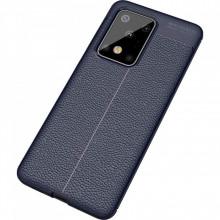 Husa Samsung Galaxy S20 ULTRA - Husa Bleumarin din TPU cu Design de Tip Piele