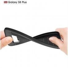 Husa Samsung Galaxy S8 Plus Neagra din TPU cu Design de Tip Piele