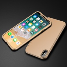 Husa iPhone XR Gold 360° Matte Premium Ultra Slim Cu Folie De Sticla