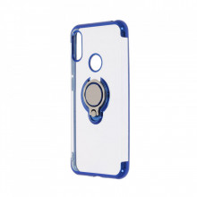 Husa Huawei Y6 (2019) - Silicon Transparenta cu Inel Rotativ si Margini Albastre