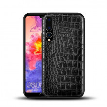 Husa pentru Huawei P20 Lite, cu protectie ridicata, TPU + Crocodil Design, rezistenta la socuri, negru