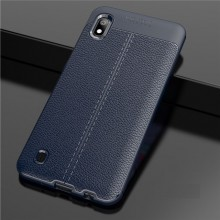 Husa Samsung Galaxy A10 Bleumarin din TPU cu Design de Tip Piele