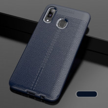 Husa Samsung Galaxy A40 Bleumarin din TPU cu Design de Tip Piele