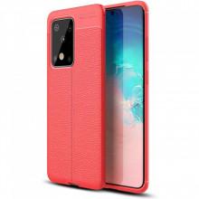 Husa Samsung Galaxy S20 ULTRA - Husa Rosie din TPU cu Design de Tip Piele