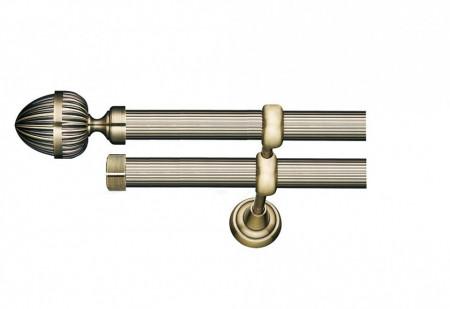 Galerie dubla striata - fara inele - ODEON striat - 25/19 - aur antic