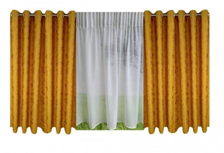 Set complet pentru fereastra DRAPERIE EVEREST 8009 CU INELE CROM + PERDEA 1008