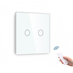 Întrerupător tactil dublu dimabil cu senzor telecomandă M1