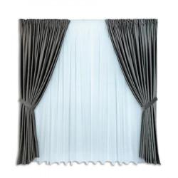 Set complet pentru fereastra DRAPERIE CATIFEA V44 gri inchis+ PERDEA 1008