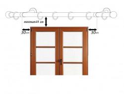Galerie dubla Xantos, teava profil, suport tavan, grosime 19mm, combinatie alb lucios