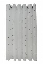 Perdea P140 -alb-gri cu INELE CAPSE PLATINA