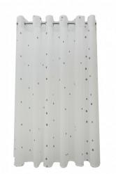 Perdea P140 -alb-gri cu INELE CAPSE INOX