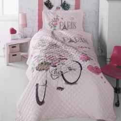 Cuvertură de pat Clasy-matlasată o persoană-PARIS LOVE