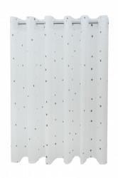 Perdea P140 -alb-gri cu INELE CAPSE ALB