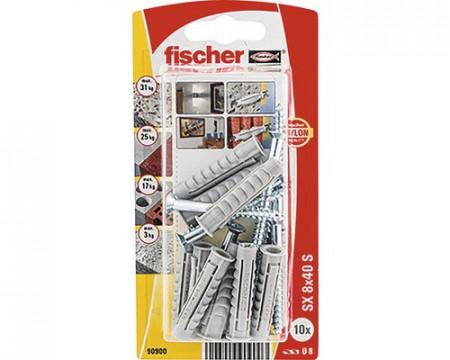 Diblu plastic cu surub Fischer 8x40x-10 bucati