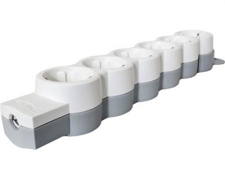 Poze Multipriza (prelungitor) electrica fara cablu Legrand 6 prize, alb/gri