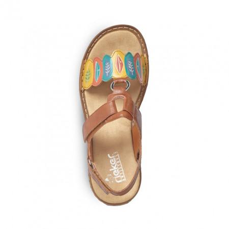 Sandale Rieker 60174, culoare maro cu motive florale