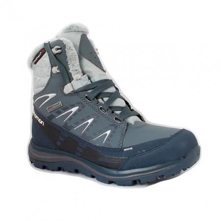 Ghete Salomon Kaina Mid, pentru iarna, impermeabile, comfort termic pana la -25 grade,culoare albastru cu gri
