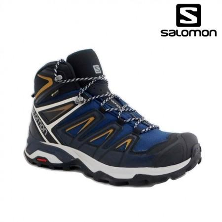 Ghete Salomon X-Ultra Mid 3, impermeabile,Gore-tex, culoare albastra