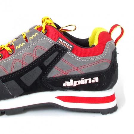 Pantofi Alpina, model Royal, impermeabili, culoare gri cu rosu