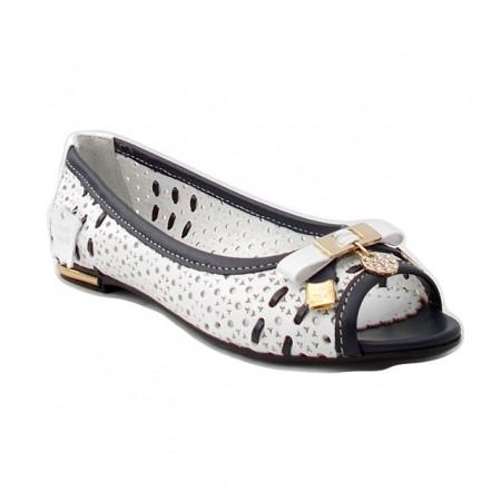 Pantofi Anna Viotti, model 86, culoare alba, fabricati de mana