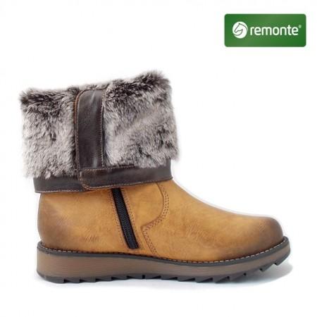 Ghete Remonte 8874, impermeabile, blana naturala, culoare maro