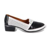 Pantofi Anna Viotti, model 535, pentru vara, culoare alb cu negru