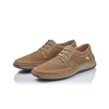 Pantofi Rieker 05259 , pentru vara, culoare bej inchis-maro, siret elastic