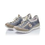 Pantofi Rieker L3296, pentru vara, talpa din spuma cu memorie, culoare albastra
