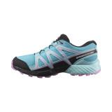 Pantofi Salomon Speedcross Junior, impermeabili, culoare albastru cu roz