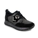 Pantofi C651, culoare negru cu gri
