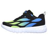 Pantofi Skechers, model Flex Glow, talpa cu luminite, culoare verde cu albastru