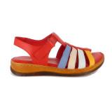 Sandale Pass, model 24901, culoare rosie combinata cu alte culori