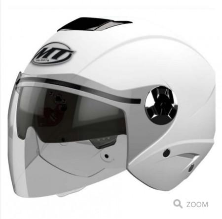 Casca open face motociclete MT City Eleven SV alb lucios (ochelari soare integrati)