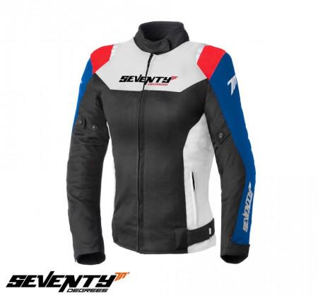 Geaca moto femei Racing vara Seventy model SD-JR50 negru/rosu/albastru