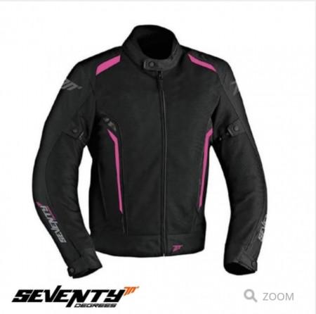 Geaca (jacheta) motociclete femei Touring vara Seventy model SD-JT36 culoare: negru/roz