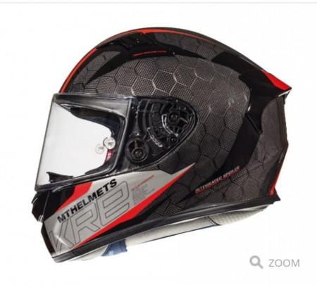Casca moto MT KRE Snake carbon 2.0 A5 negru/rosu lucios – 100% carbon