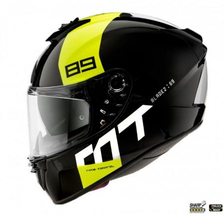 Casca moto integrala MT Blade 2 SV 89 B3 galben fluor lucios (ochelari soare integrati):