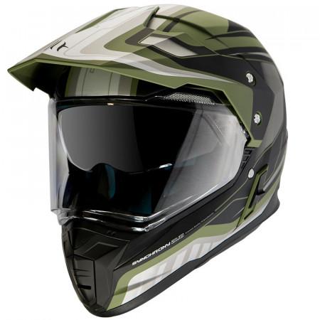 Casca off road MT Synchrony Duo Sport Tourer negru/verde military mat cu viziera (ochelari soare integrati)