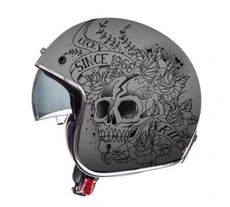 Casca open face motociclete MT Le Mans 2 SV Skull & Rose A2 negru/gri mat (ochelari soare integrati)