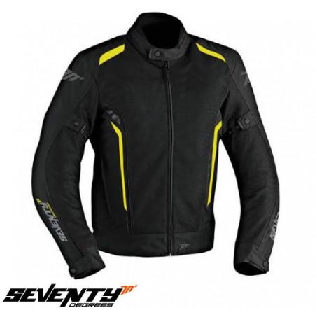 Geaca (jacheta) motociclete barbati Touring vara Seventy model SD-JT32 culoare: negru/galben fluor