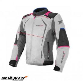 Geaca (jacheta) motociclete femei Racing Seventy vara/iarna model SD-JR49 culoare: gri/albastru/roz
